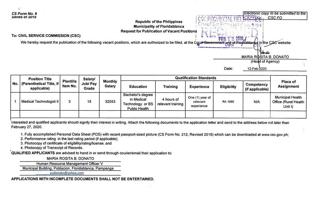Publication of Vacant Positions February 12, 2020